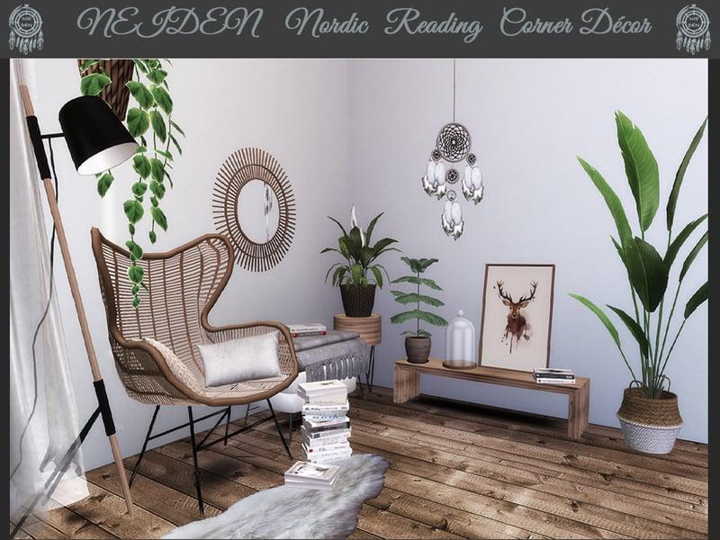 NIEDEN Nordic Reading Corner Decor Mod Sims 4 Mod Mod
